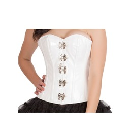 White Pvc Faux Leather Steampunk Bustier Waist Training Overbust Corset Top