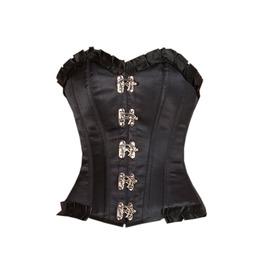 Plus Size Black Satin & Lace Gothic Steampunk Bustier Overbust Corset Top