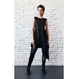 Asymmetric Black Long Tunic/Sleeveless Black Top/Loose Oversize Vest
