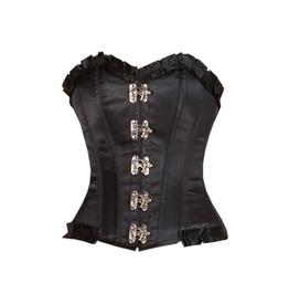 Black Satin And Lace Gothic Steampunk Bustier Costume Overbust Corset Top