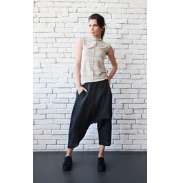 Black Linen Pants/Asymmetric Loose Pants/Black Capris/Loose Maxi Pants
