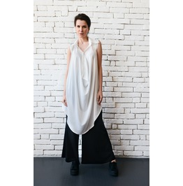 White Loose Long Top/Sleeveless Maxi Tunic/Asymmetric White Shirt