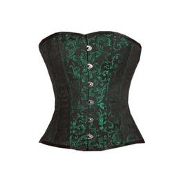 Green Black Brocade Gothic Burlesque Bustier Waist Training Overbust Corset