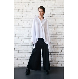 White Maxi Linen Shirt/Oversize Loose Tunic/Plus Size Maxi Top