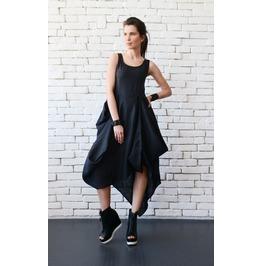 Black Asymmetric Linen Dress/Long Short Tunic Top/Black Linen Dress