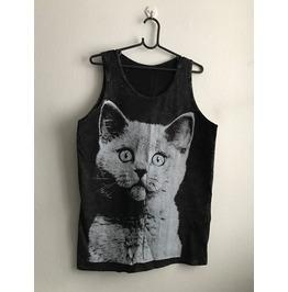 Kitty Cat Fashionista Cool Print Pop Rock Fashion Stone Wash Tank Top