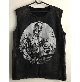 Alien Say Hi To The Moon Fashion Punk Rock Stone Wash Vest Tank Top M