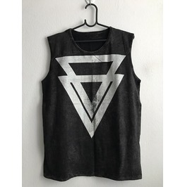 Triangle Fashion Punk Rock Stone Wash Vest Tank Top M