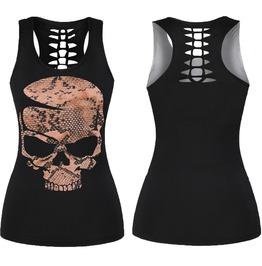 Snake Skin Skull Hollow Out Women Tank Top