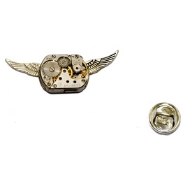Steampunk Winged Watch Movement Pin Badge / Brooch. Hand Made In Cornwall,