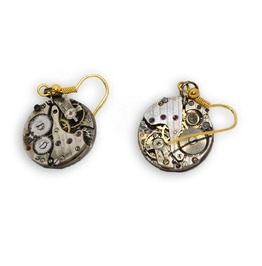 Pair Of Stempunk Inspired Watch Movement Earrings With Gold Plated Hook Wir