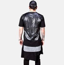 Embossed Rubber Skeleton Back Contrast T Shirts 920