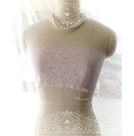 Light Baby Pink Lace Simple Semi Sheer Tube Crop Top Bandeau Strapless Bra