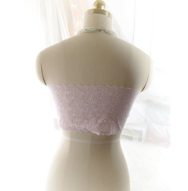 e7e1356f02 Light Baby Pink Lace Simple Semi Sheer Tube Crop Top Bandeau Strapless Bra