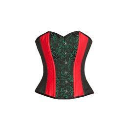 Red Leather & Green Black Brocade Burlesque Waist Training Overbust Corset