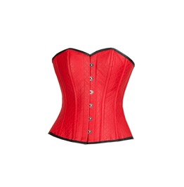 Plus Size Red Leather Goth Steampunk Waist Shaper Overbust Corset Costume