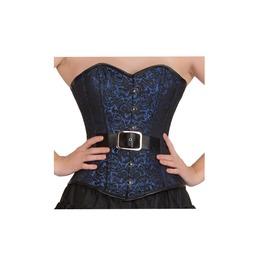 Plus Size Blue & Black Brocade Goth Burlesque Bustier Overbust Corset Top