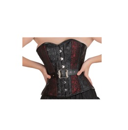 Red Black Brocade & Leather Waist Training Bustier Overbust Costume Top