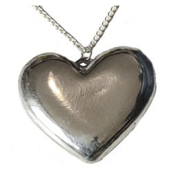 Solid High Tin Pewter Heart Pendant. Ideal 10th Anniversary Gift.