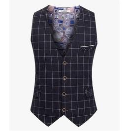 Hipster Vintage Fashion Plaid Dress Men Vest