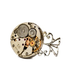 Steampunk Watch Movement Filigree Silver Plated Ring. Adjustable. Hand Made