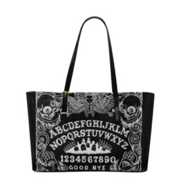Ouija Black Leather Tote Bag