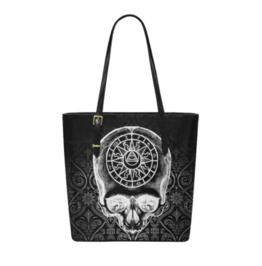 Astrology Skull Leather Tote Bag