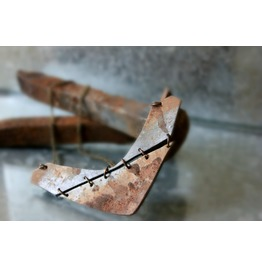 Faux Rusted Steel Industrial Polymer Clay Boomerang Necklace