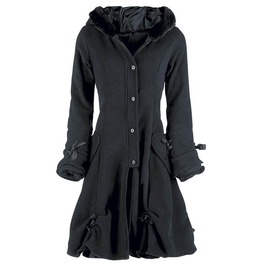 Lace Up Hooded Bowknot Lolita Goth Womens Coat Outerwear