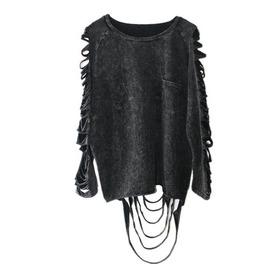 D Istressed Long Sleeve Cut Punk Goth Loose Dark Womens Sweatshirt Top