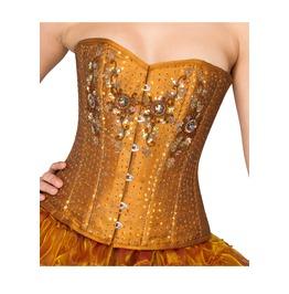 Golden Cotton Silk Sequins Goth Burlesque Waist Trainer Overbust Corset Top