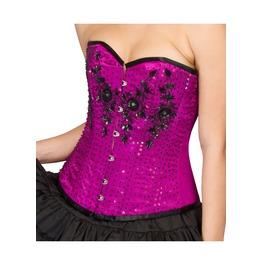 Purple Satin Sequins Halloween Costume Waist Shaper Overbust Corset Top