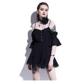 Cute Spaghetti Strap Off Shoulders Goth Mini Romper Womens Dress