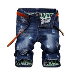 Mens Denim Short Jeans Ripped Leisure Summer Fifth Pants