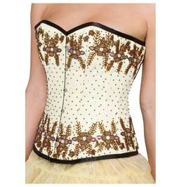 Yellow Satin Handmade Sequins Burlesque Waist Shaper Overbust Corset Top