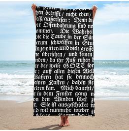 Deutsch Print Black And White Towel
