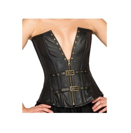 Black Faux Leather With Belt And Buckle Front Zipper Costume Overbust Top