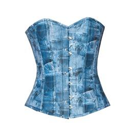 Blue Denim Print Faux Leather Bustier Halloween Costume Overbust Corset Top