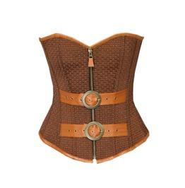 Brown Cotton Brocade & Leather Belts Halloween Costume Overbust Corset Top