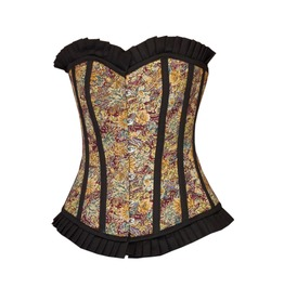 Women's Cotton Lily Printed & Frill Halloween Costumt Overbust Corset Top