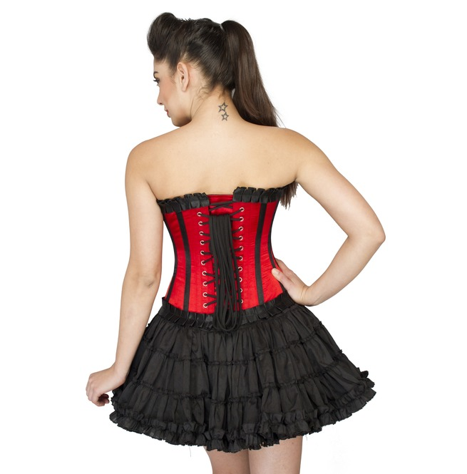 Plus Size Red Satin And Black Frill Burlesque Costume Overbust Corset