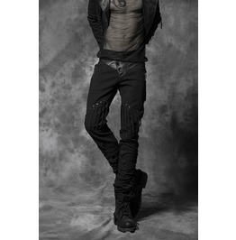 Punk Black Denim Pants With Woven Details For Men