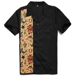 Men's Rockabilly Printed Contrast Color Shirt