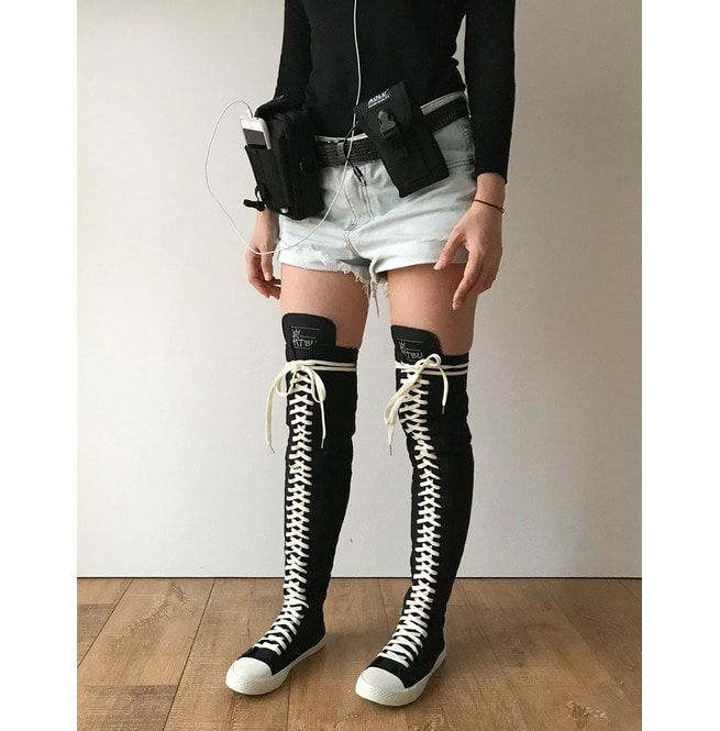 c8b5f8045be9 Rtbu Ivory Frosting 35 Hole Punk Thigh Hi Black Canvas Lace Up Sneaker Boot