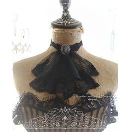 Victorian Choker Necklace Jabot Collar Black Lace Collar Cameo Pendant Goth