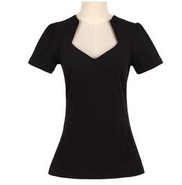 Women's Fasion Half Open Collar Slim Fitted T Shirt