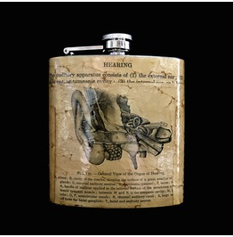 Hand Collaged Vintage Anatomy Flask : Inner Ear