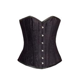 Black Velvet Gothic Burlesque Halloween Waist Training Overbust Corset Top
