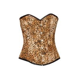 Leopard Print Polyester Halloween Costume Waist Cincher Overbust Corset Top