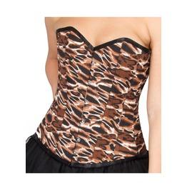 Tiger Printed Polyester Burlesque Halloween Costume Overbust Corset Top
